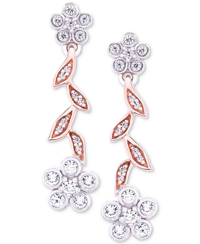 Wrapped in Love - Diamond Flower Drop Earrings (1/4 ct. t.w.) in 14k Rose & White Gold