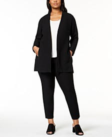 Plus Size Topper Jacket, Top & Slim Ankle Pants