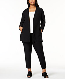 Eileen Fisher Plus Size Topper Jacket, Top & Slim Ankle Pants