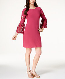 Alfani Lace-Sleeve A-Line Dress, Created for Macy's