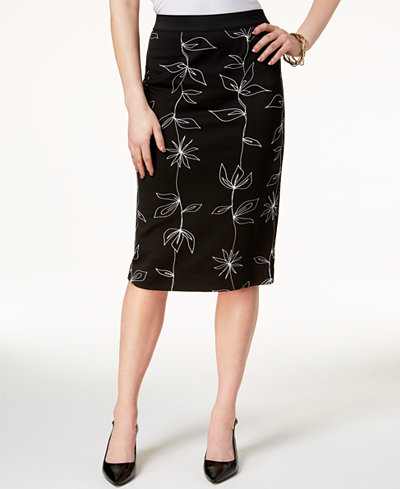 Alfani Petite Printed Pencil Skirt, Created for Macy's