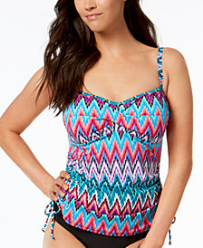 Swim Solutions Island Sunset Underwire Ruched Tankini Top, Created for Macy's