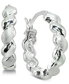 "Giani Bernini Small Twisted Hoop Earrings in Sterling Silver, 0.8"", Created for Macy's"