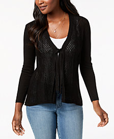 Style & Co Petite Tie-Front Cardigan, Created for Macy's