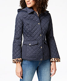 Laundry by Shelli Segal Printed-Cuff Quilted Coat