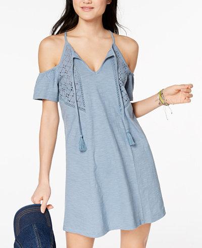 Roxy Juniors' Cotton Cold-Shoulder A-Line Dress
