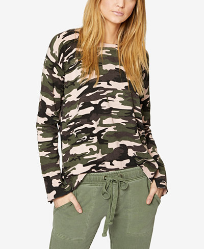 Sanctuary Camouflage-Print Laced-Back Sweater
