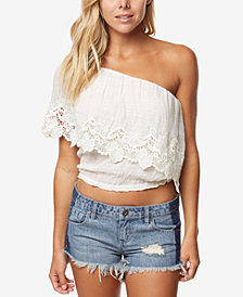 O'Neill Juniors' Sabrina One-Shoulder Lace Crop Top