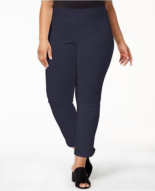 59d017c27cb5d9 Eileen Fisher Plus Size SYSTEM Washable Crepe Slim-Leg Ankle Pants ...