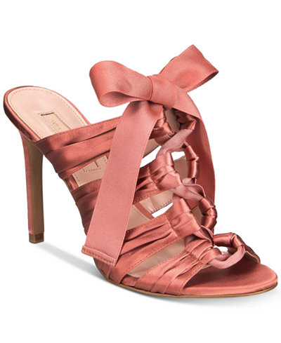 Avec Les Filles Janelle Satin Lace-Up Dress Sandals
