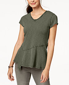 Style & Co Cotton Peplum-Hem T-Shirt, Created for Macy's