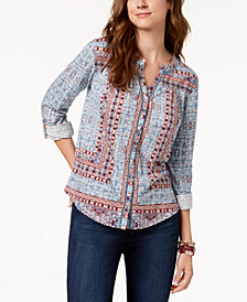 Style & Co Printed Tab-Sleeve Blouse, Created for Macy's