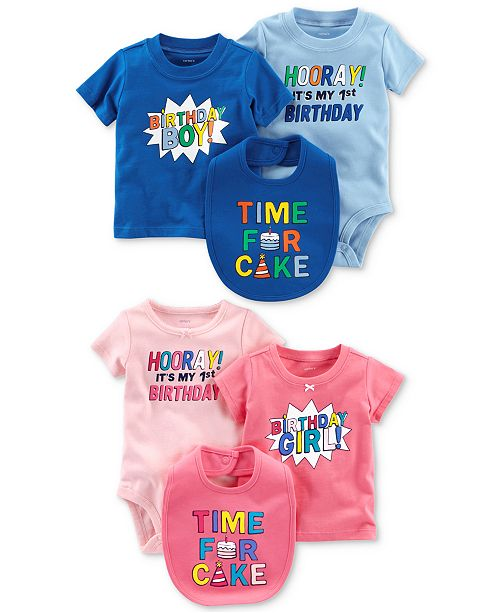 Carters 1st Birthday Graphic Print Separates Baby Boys Or Girls