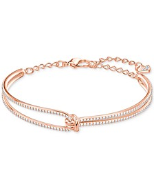 Rose Gold-Tone Crystal Knot Bangle Bracelet