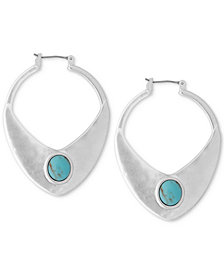 Lucky Brand Silver-Tone Blue Stone Open Drop Earrings