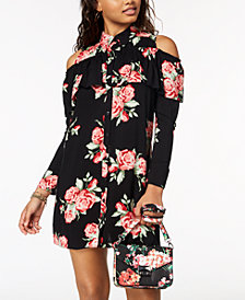The Edit By Seventeen Juniors' Printed Cold-Shoulder Shirtdress, Created for Macy's