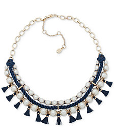"Ivanka Trump Gold-Tone Imitation Pearl, Blue Rope & Tassel Statement Necklace, 16"" + 3"" extender"