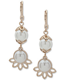 Ivanka Trump Gold-Tone Imitation Pearl Double Drop Earrings