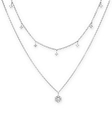 "Diamond Drop Layered 15-3/4"" Necklace (1/2 ct. t.w.) in 14k White Gold"