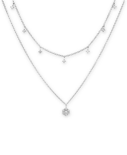"Macy's Diamond Drop Layered 15-3/4"" Necklace (1/2 ct. t.w.) in 14k White Gold"