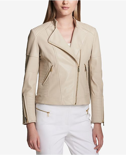 39b99c36ff1 Calvin Klein Faux-Leather Moto Jacket   Reviews - Jackets   Blazers ...