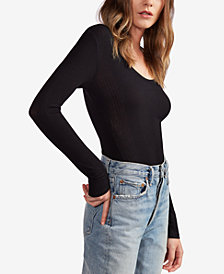 Avec Les Filles Variegated Ribbed Scoop-Neck Top