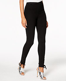 The Edit By Seventeen Juniors' Cotton Lace-Up Skinny Pants, Created for Macy's