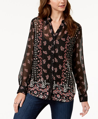 Style & Co Printed Sheer Tunic Shirt, Created for Macy's