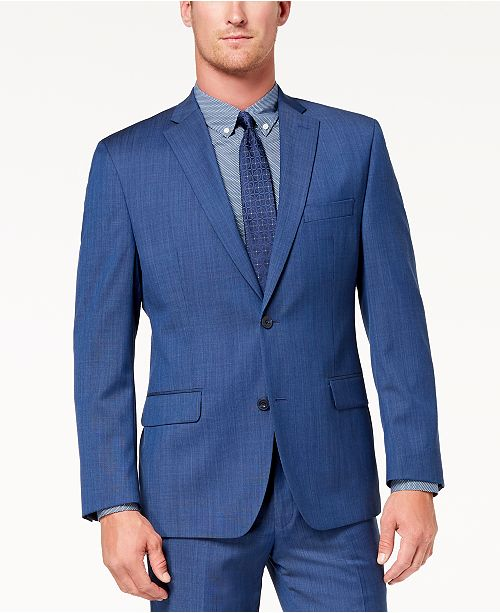 Michael Kors CLOSEOUT! Men's Classic-Fit Airsoft Stretch Blue Solid Suit Jacket