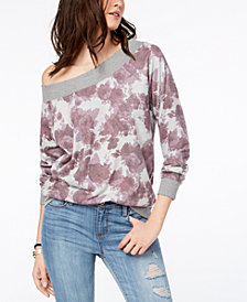American Rag Juniors' Printed One-Shoulder Sweatshirt, Created for Macy's