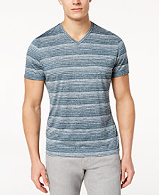 Alfani Men's Two-Tone Stripe V-Neck T-Shirt, Created for Macy's