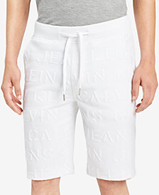 Calvin Klein Jeans Men's Athletic Collage Classic-Fit Stretch Embossed-Logo Shorts, Created for Macy's