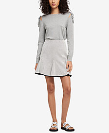 DKNY Faux-Leather-Trim Top & Mini Skirt, Created for Macy's