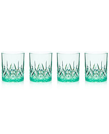 Q Squared Aurora Seaglass Double Old-Fashioned Tumblers, Set of 4