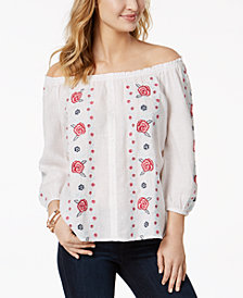 Charter Club Embroidered Off-The-Shoulder Peasant Top, Created for Macy's