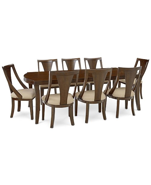 Furniture Portland Expandable Dining Furniture, 9-Pc. Set (Dining Table & 8 Side Chairs), Created for Macy's