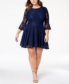 City Studios Trendy Plus Size Lace Bell-Sleeve Dress