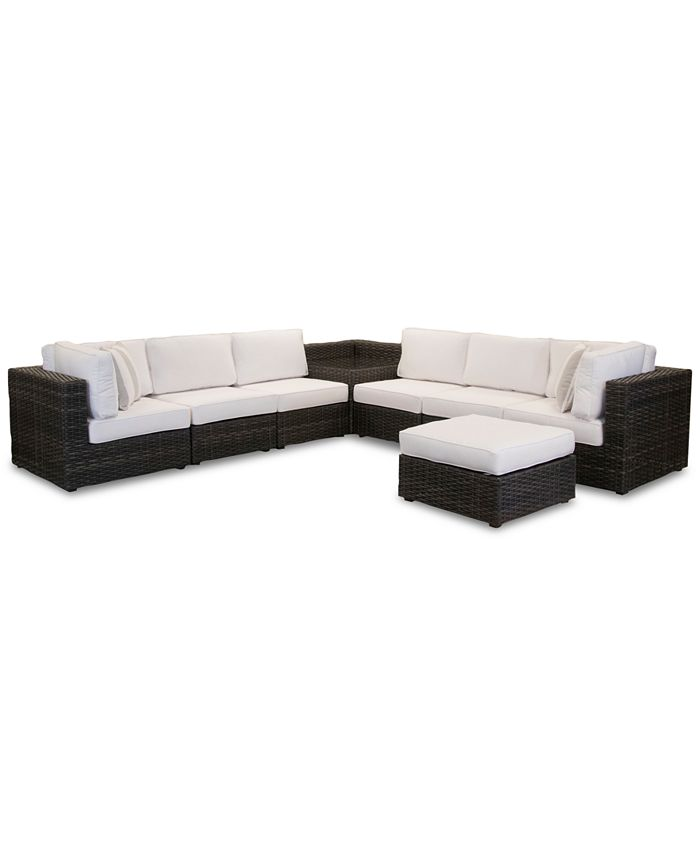 Furniture - Viewport Outdoor 8-Pc. Modular Seating Set (2 Corner Units, 4 Armless Units, 1 Corner Table and 1 Ottoman) with Sunbrella® Cushions