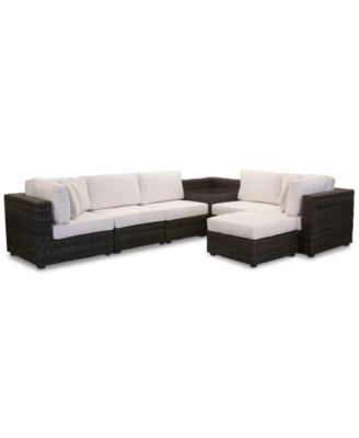 Viewport Outdoor 7-Pc. Modular Seating Set (2 Corner Units, 3 Armless Units, 1 Corner Table and 1 Ottoman) with with Sunbrella® Cushions, Created for Macy's