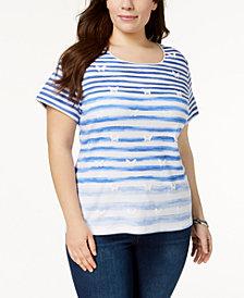 Karen Scott Plus Size Cotton Butterfly Ombré-Stripe T-Shirt, Created for Macy's