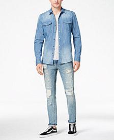American Rag Men's Denim Western Shirt, Stripe T-Shirt & Destroyed Jeans, Created for Macy's