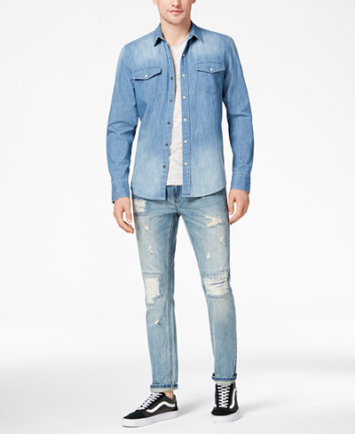 American Rag Men's Denim Western Shirt, Stripe T-Shirt & Destroyed Jeans, Created for Macy's