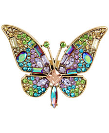 Betsey Johnson Gold-Tone Multi-Stone Butterfly Ring