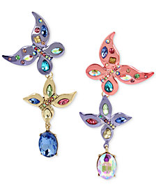 Betsey Johnson Multi-Tone Multi-Stone Butterfly Mismatch Drop Earrings