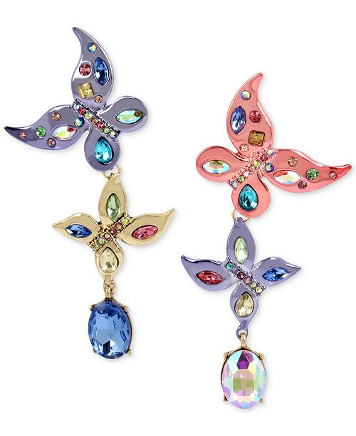 Multi-Tone Multi-Stone Butterfly Mismatch Drop Earrings
