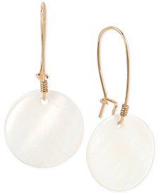 Robert Lee Morris Soho Gold-Tone Mother-of-Pearl-Look Disc Drop Earrings
