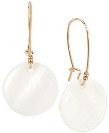 Robert Lee Morris Soho Gold-Tone Mother-of-Pearl-Look Disc Drop Earrings