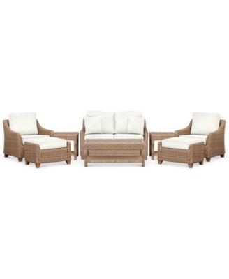 Willough Outdoor 8-Pc. Set (1 Loveseat, 2 Club Chairs, 1 Coffee Table, 2 Ottomans & 2 End Tables), Created for Macy's