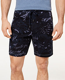 "Michael Kors Men's 9"" Classic-Fit Stretch Tropical-Print Fleece Shorts"