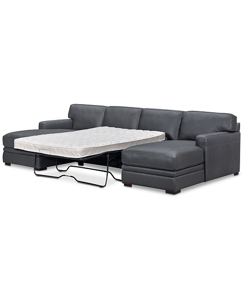 Furniture Avenell 3-Pc. Leather Sectional with Double Chaise & Full ...